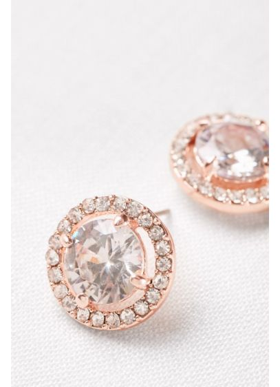 Pave Crystal Button Studs - Wedding Accessories
